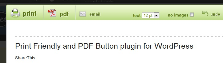 WordPress - Print Friendly and PDF Button
